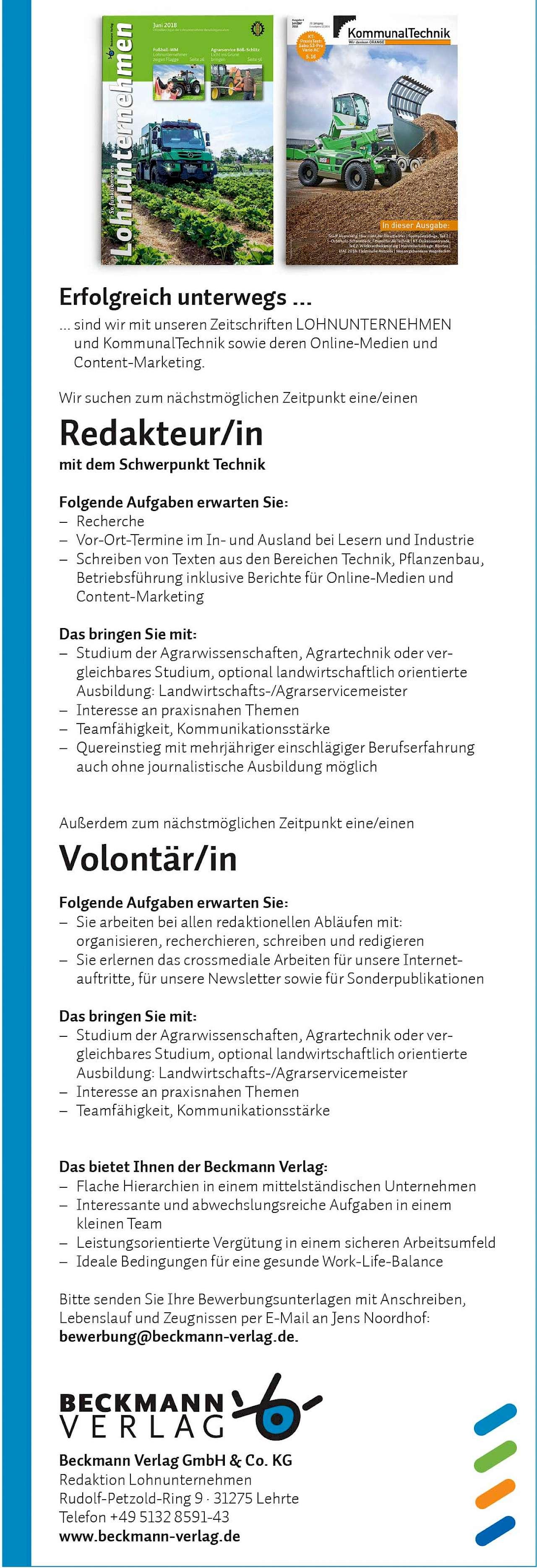 Redakteur In Und Volontär In Gesucht Beckmann Verlag